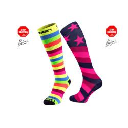 2.er SET Kompression-Socken lang-Stripe-Star