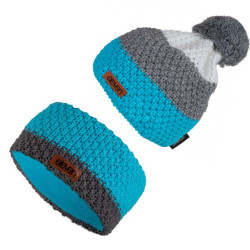 Set Haube Stirnband POM Blue