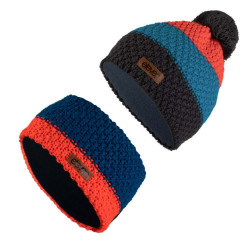 Set Haube Stirnband POM Blue/Orange