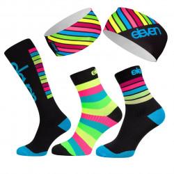4ER Pack Compres Socken Stripe +Stirnband Dol Stripe_AP21